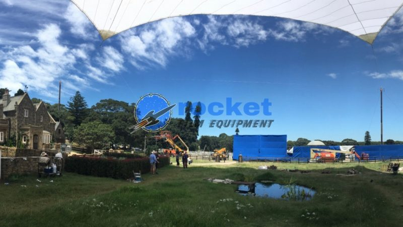 A wide angle shot of the Peter Rabbit Film Shoot Location set showing Tensioned Diffusion Sail and Blue screens